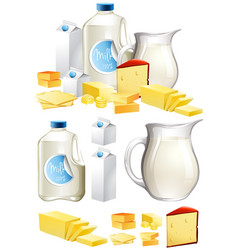 different dairy products with milk and cheese vector image