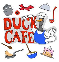 Duck cafe set vector
