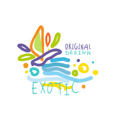 exotic travel logo with doodle elements vector image vector image