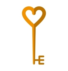 Golden key shaped heart vector