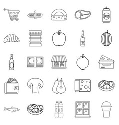 grocery icons set outline style vector image vector image