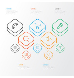 Interface outline icons set collection of filter vector