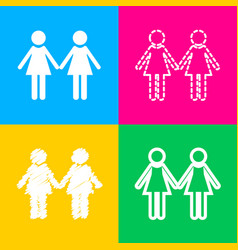 Lesbian family sign four styles of icon on four vector