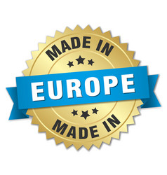 made in europe gold badge with blue ribbon vector image