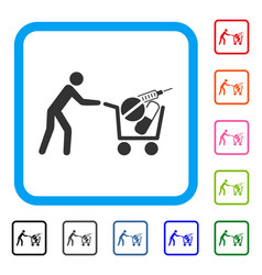 medical shopping framed icon vector image vector image