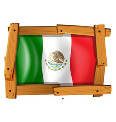 Mexico flag in wooden frame vector