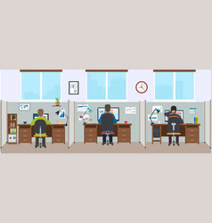 Office interior with employees modern office vector