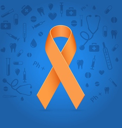 Orange ribbon over blue medical background vector image