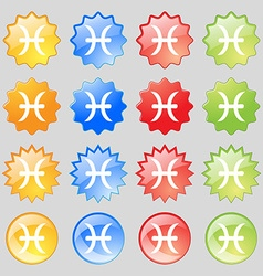 Pisces zodiac sign icon sign Big set of 16 vector image
