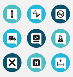 Set of 9 editable clinic icons includes symbols vector