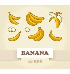 Set of cartoon yellow bananas vector