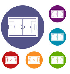 soccer field icons set vector image
