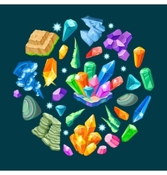 Stones decoration isometric set vector