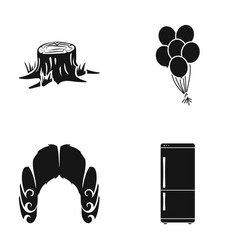 stump balloons and other web icon in black style vector image vector image