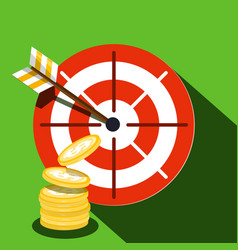 Target icon with dollar coins vector