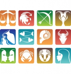 Zodiac sign silhouettes vector