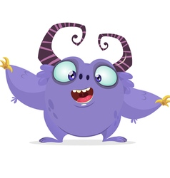 Cartoon purple monster with big horns vector