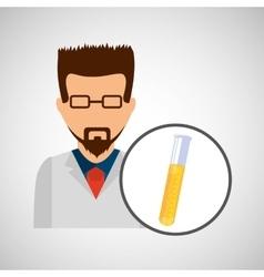 male scientist laboratory icon test tube vector image