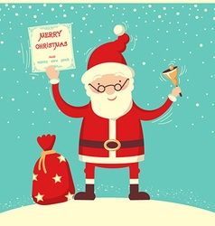 Santa claus and christmas bell vector