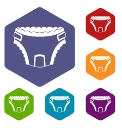 Baby diaper icons set vector