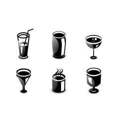Glossy drinks and beverages icon set vector