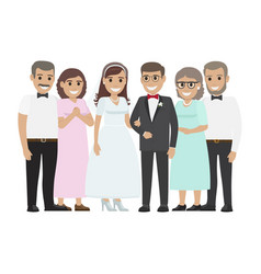 Wedding family together newlyweds couple design vector