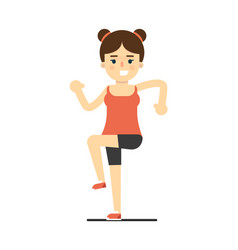 Happy girl in sportswear doing sport exercise vector