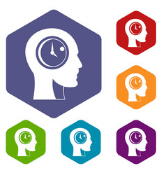 time management icons set hexagon vector image
