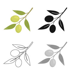 olive icon cartoon singe vegetables icon from the vector image