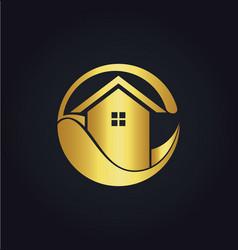 House eco icon gold logo vector