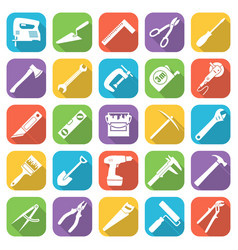 set of tflat style tools icons on a different vector image