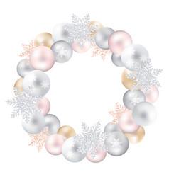 A festive wreath of christmas toys and snow-flakes vector