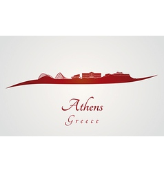 Athens skyline in red vector