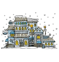 Cartoon city coated by snow vector