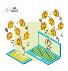 Conceptual image with social networks vector