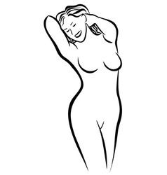 Nude woman sketch vector