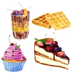 Watercolor desserts with berries vector