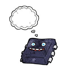 Cartoon computer chip with thought bubble vector