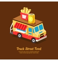Mobile food van vector