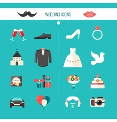 Color decorative wedding icons vector