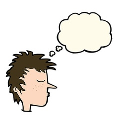 Cartoon male face with thought bubble vector