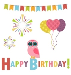 Birthday card with pink owl vector image