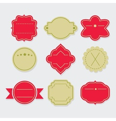 Stylish red and green empty template labels set vector