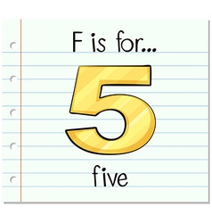 Flashcard letter f is for five vector
