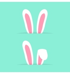 Two pairs rabbit ears like happy easter vector
