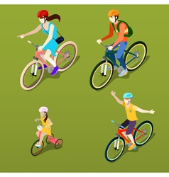 Isometric people isometric bicycle family cyclists vector