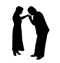 Man kissing womans hand vector
