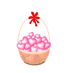 A Brown Basket of Stack of Hearts vector image