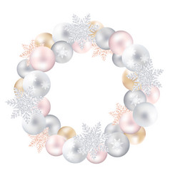 a festive wreath of christmas toys and snow-flakes vector image