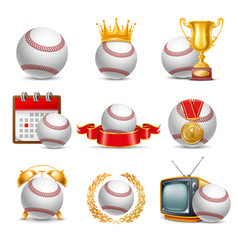 baseball ball icon set vector image vector image